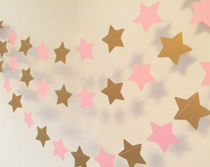 I Love you to the Moon and back Baby Shower decorations - PINK & GOLD Moon and Stars Nursery Banner - Twinkle Little Star - custom color