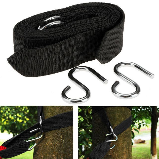 Homdox 2pcs Hammock hanging belt hammock strap rope with metal buckle Hook wholesale cheap price #50-21