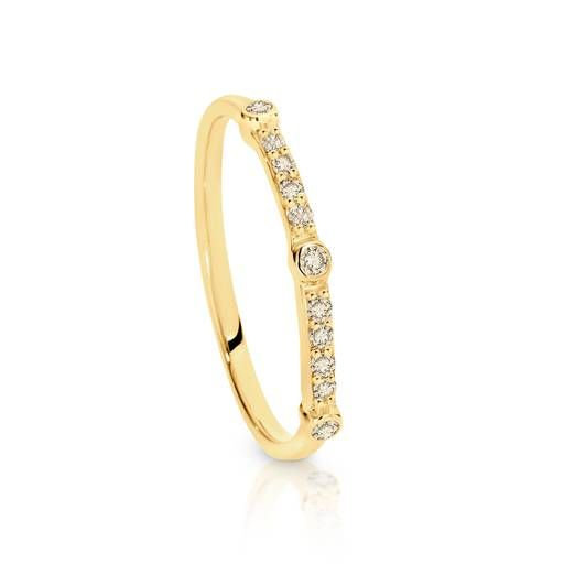 Dreamtime 9ct Yellow Gold Diamond Fine Bar Stacker Ring