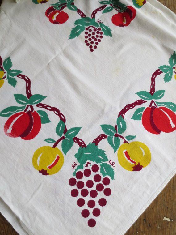 Vintage Tablecloth REtro Tablecloth Mid Century Tablecloth Fruit Design  Fruitu2026