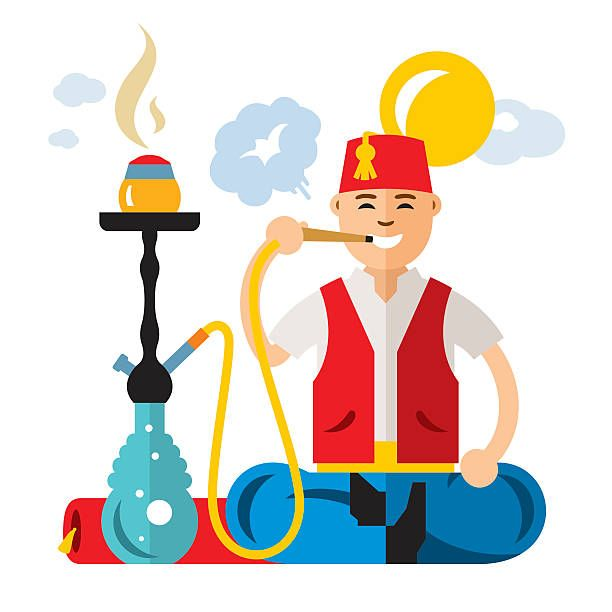 Vector Turkish Man With Hookah Flat Style Colorful Cartoon
