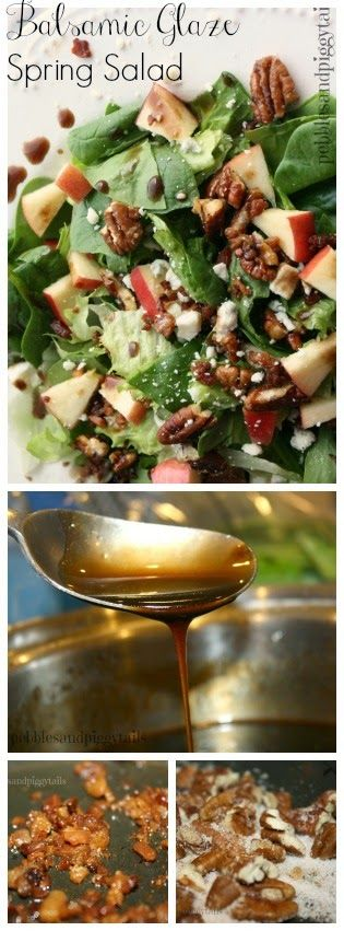 Gonna start Easter Dinner with this amazing Balsamic Glaze Spring Salad!!! I love her homemade glaze and the mix of tasty ingredients in this salad. Perfect salad for spring