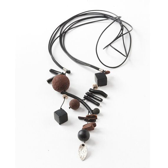 Black Leather Necklace with Brown Lava,Black Coral,Black Onyx,Sterling Silver Rondelle and Leave.