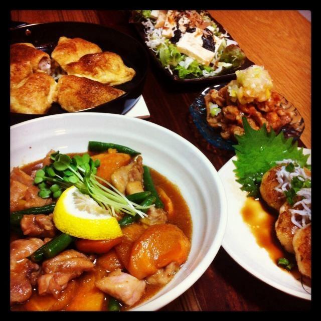 サイトで調べて作りましたカボスがなかったので柚子で代用しましたフルーティーで美味しかったですʕ̡̢̡*✪௰✪ૢʔ̢̡̢✨レシピありがとうございます  ☆柿と鶏肉の照り焼き ☆油揚げ包み焼き(豚しそチーズ、豚ネギ柚子胡椒) ☆鶏皮ポン酢 ☆大根餅 ☆豆腐サラダ  油揚げの包み焼きはえみちさんのお料理を参考にしました٩꒰๑❛▿❛ ॢ̩꒱ - 99件のもぐもぐ - mikachiさんの料理 柿と鶏肉の照り焼き by a08037459563