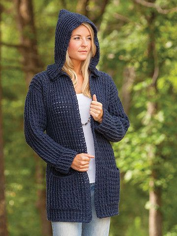 "AA886014 - Crochet Hoodie Cardigan - $6.99 This versatile cardigan combines comfort and style! Made using Plymouth Encore Worsted-weight yarn. Instructions included for finished measurements are: Bust: 38"" S (40"" M, 46"" L, 50"" XL, 54"" 2X, 56 1/2"" 3XL); Length: 28""S (28 3/4"" M, 29 1/2"" L, 30 1/4"" XL, 31"" 2XL, 31"" 3XL).  Skill Level: Intermediate"