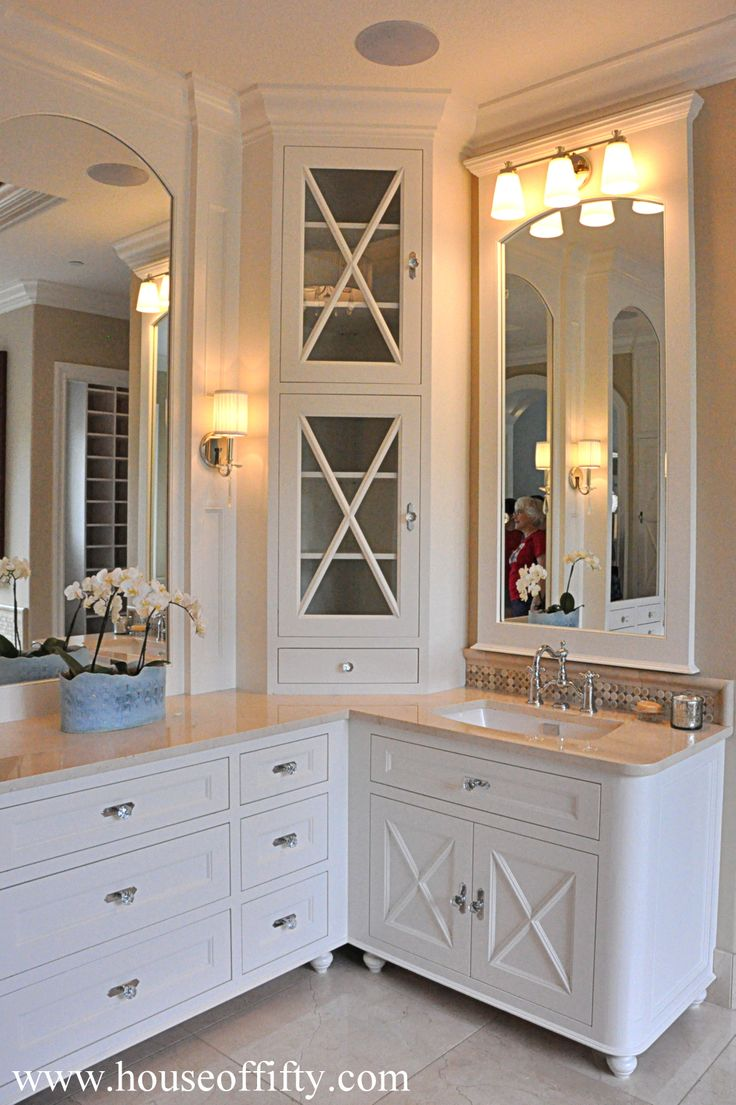 13 best l shaped double vanity bathroom inspiration images - Corner cabinet ideas ...