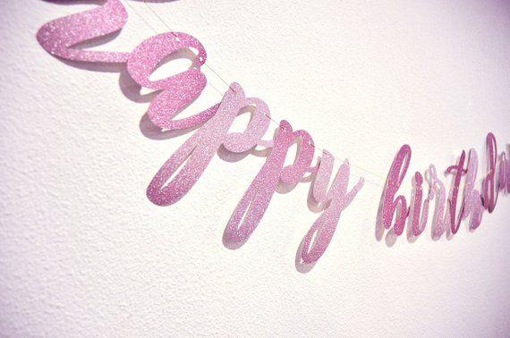 Custom Banner Gradient Glitter Banner Happy Birthday Banner Party