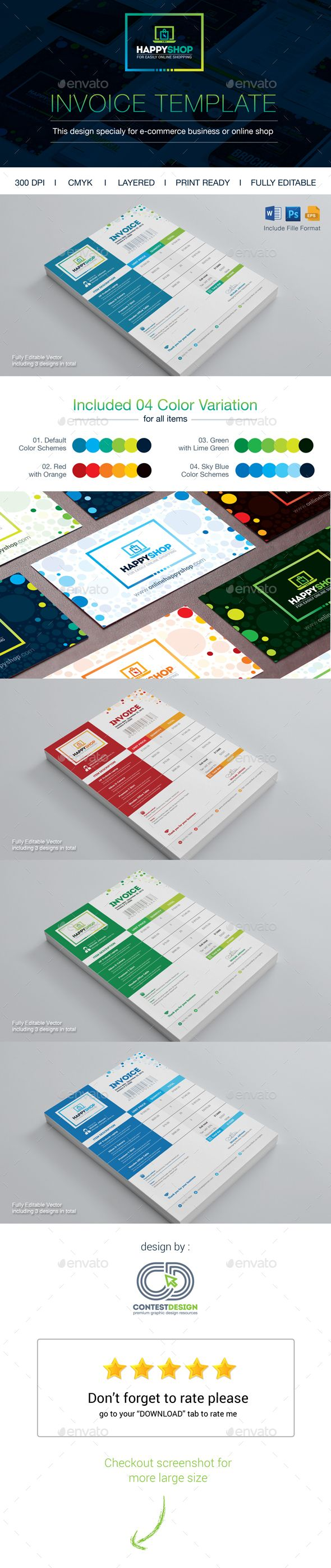 free proposal template%0A HappyShop   Invoice Template by ContestDesign This is the Invoice template  is specially for ECommerce Business or Online Shop  Creative and clean  Invoice