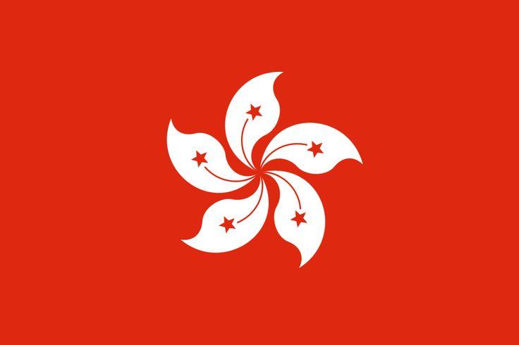 Flag of Hong Kong incorporating Bauhinia Blakeana, named after the Irish Governor of Hong Kong, Sir Henry Blake.