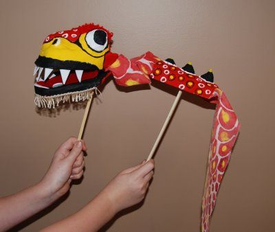 chinese new year dragon puppet #kid #craft