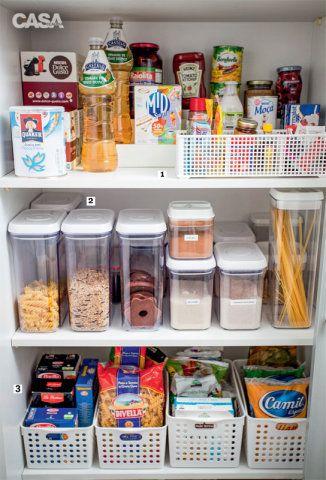 (1). PRODUTOS À VISTA. O cesto plástico evita que sachês e outras miudezas se percam no armário. Ao fundo, um degrau eleva e deixa à mostra as embalagens menores. (2). PARA CONSERVAR POTES. Assim, grãos e petiscos que sobram ficam crocantes por mais tempo. Farinhas difíceis de diferenciar receberam etiquetas. (3). CESTINHAS PR ÁTICAS. Nestes acessórios, a ideia é dispor o que não fica bom em pilhas, como sacos de arroz e macarrão.