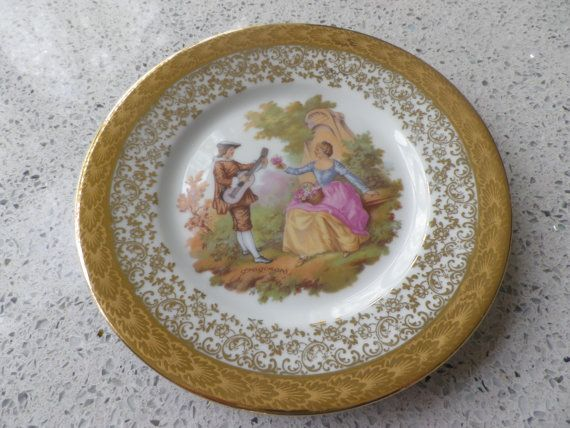 A pretty Limoges decorative plate 'The Courting Couple' by Fragonard wedding present gift cottage chic french