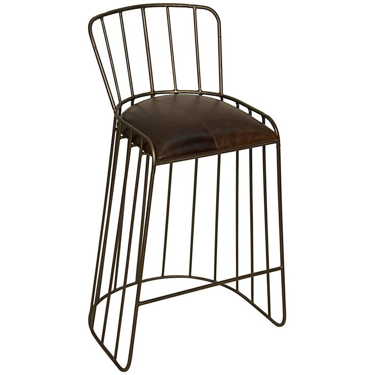Noir David Stool Leather/Metal