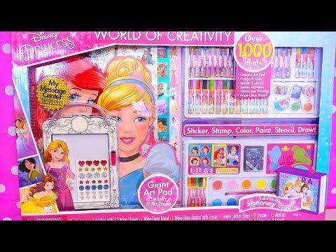 Juego GIGANTE para dibujar Princesas Disney Ariel Cenicienta Rapunzel Bella con stickers y sellos - YouTube