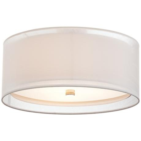 """A softer look with the outer shade - Double Drum White 18"""" Wide Flushmount Ceiling Light"""