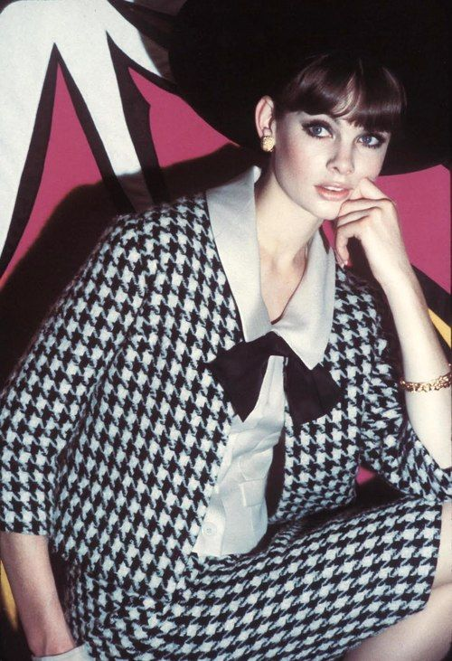 Jean Shrimpton.  Hounds tooth is certainly on trend for both fashion and upholstery.