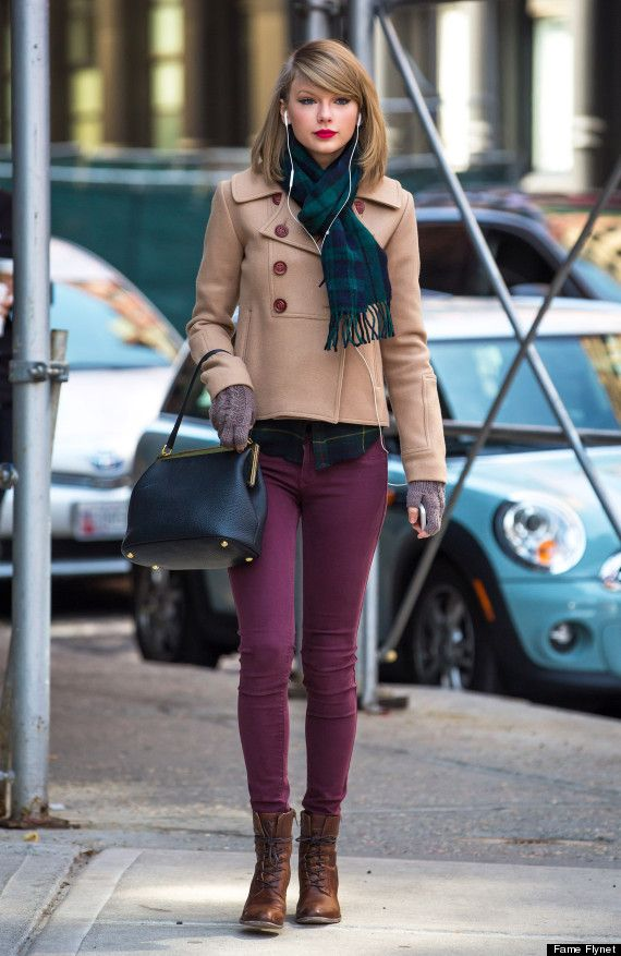 Love Taylor's winter look! Want these boots, jacket and bag!