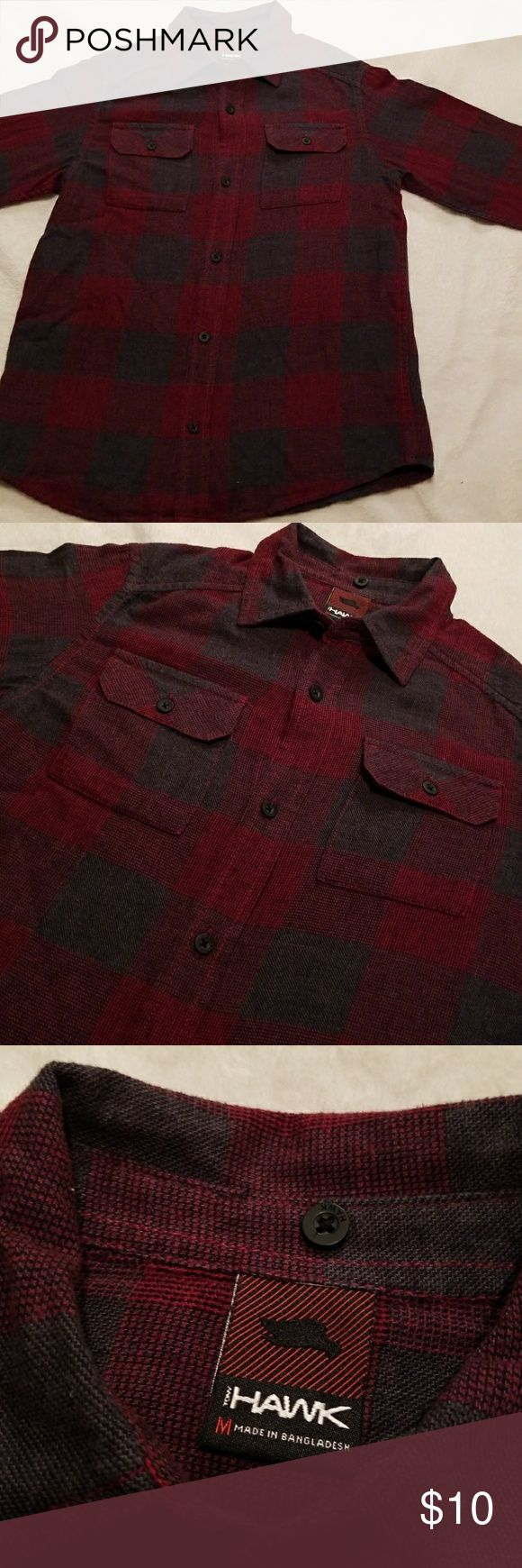 """Boys Tony Hawk Long Sleeve Button Down Size Medium Boys Hawk Long Sleeve Button Down Size Medium. 17"""" bust, 23"""" length. Double breasted pockets. Tony Hawk Shirts & Tops Button Down Shirts"""
