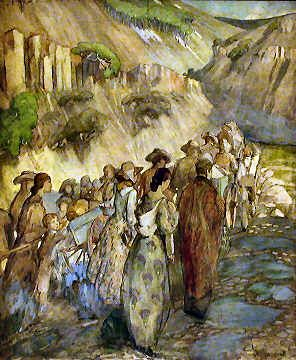 Handcart pioneers entering a canyon, 1935, Minerva Teichert