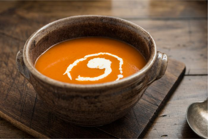 The best tomato soup for Thermo that I have discovered yet. Even if you only have a few home grown tomatoes - through them in for the amazing flavour they impart.