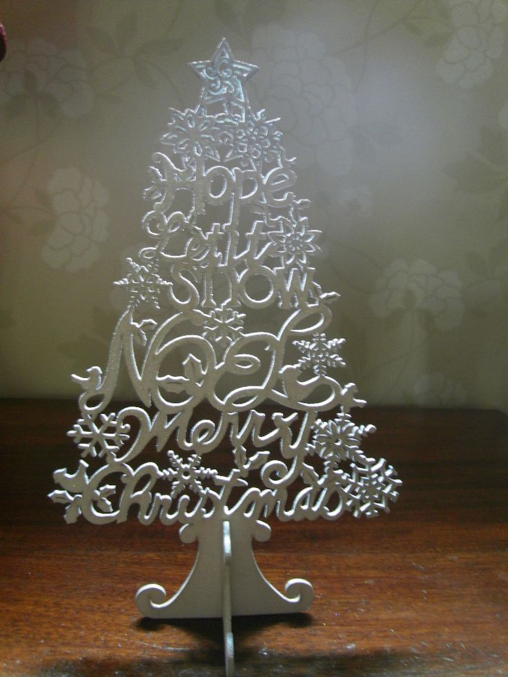 Christmas decoration - Very pretty decorative lightweight white glitter word free-standing Christmas tree. c30cm high and 18cm wide. £4.25 plus £3 UK p+p.#heirloomheaven