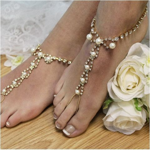 barefoot sandals - wedding - gold -rhinestones - beach -pearls