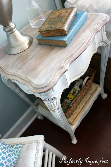 French Provincial style bed table with white wash top and milk paint base. (Possibly chalk paint, she didn't say)