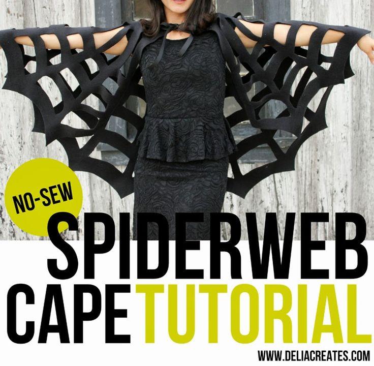 No-Sew Halloween Spiderweb Cape TUTORIAL - halloween costume #halloween #spiderweb  #costumes