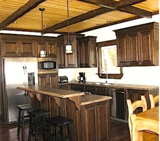 Cottage with wooden ceiling beams