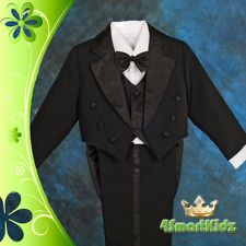 Black 5pc Formal Tuxedo Tail Suit Wedding Page boy Christening Baby Sz 0 ST011A
