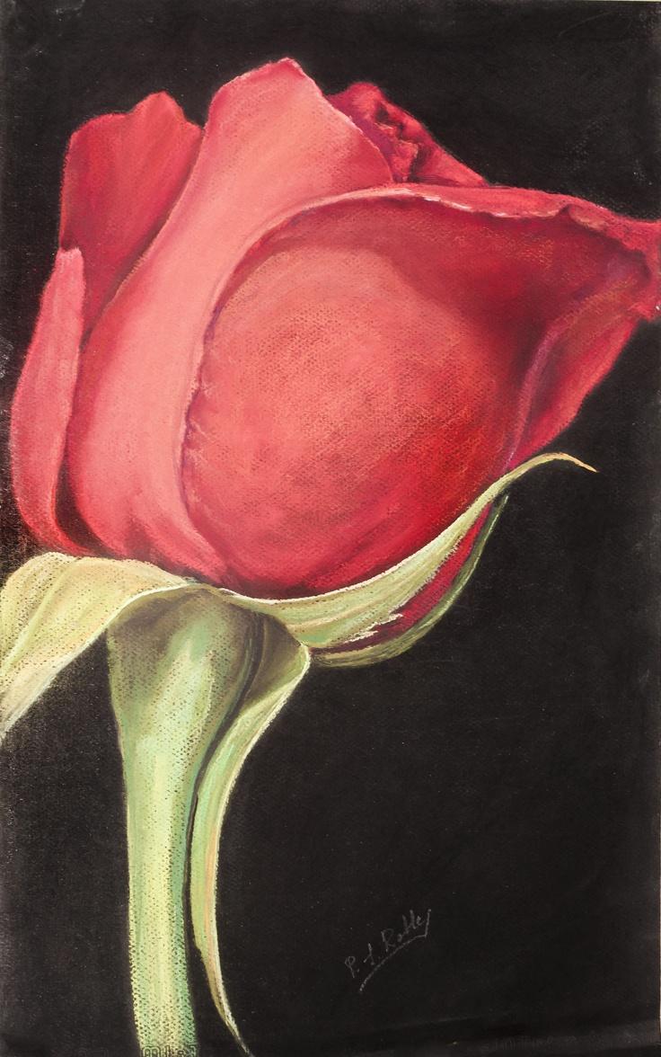 Pilar S. Robles. Rosa Roja. Pastel. 48x32. En venta