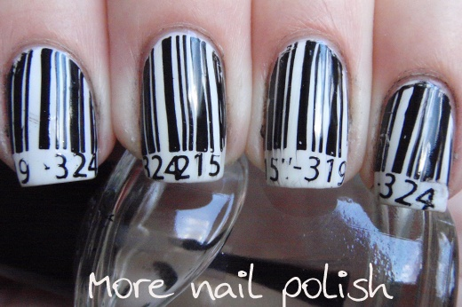 More Nail Polish: Price check?Nails Art, Nail Polish, Black And White, Barcode Nails, Hair Nails And Beautiful, Nails Polish, Price Check, Check Nails, Nail Art