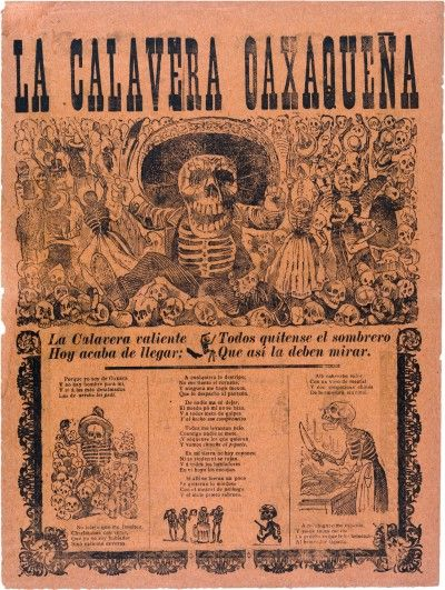 """This is an article about """"Calaveras Literarias"""" or literary skulls. These are poems about death and are intended to be read at Day of the Dead celebrations. These poems are about someone dead or near death and is normally humorous or satirical. And in this article, the author gives an example of this type of poem. (Readers Theater pg. 179). I would want to teach this in a Spanish I class."""