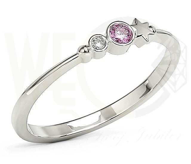 Pierścionek z białego złota z cyrkoniami Swarowski Różowy./ 582 PLN/ White gold zirconia ring with Swarowski Pink.   #ring #gift #pink #swarovski