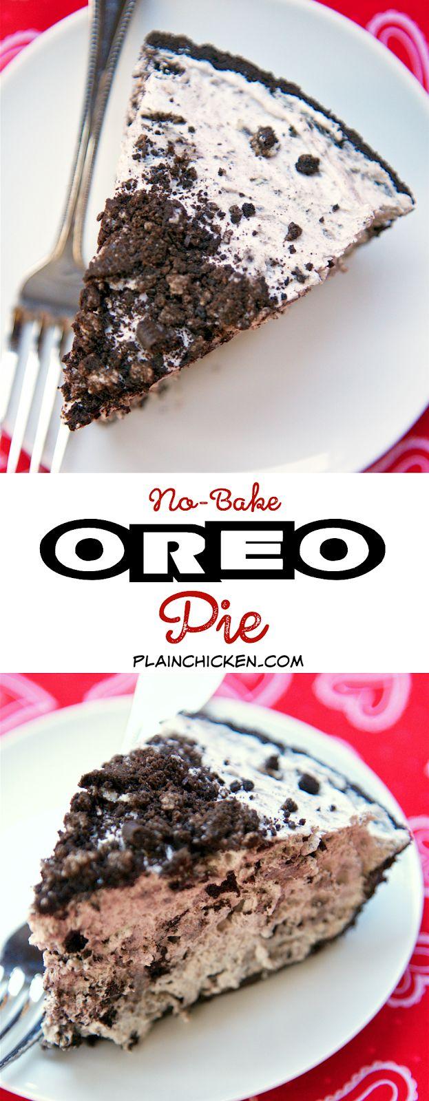 No-Bake Oreo Pie - only 4 ingredients. Takes 5 minutes to make and tastes amazing!! Oreo lover's dream!