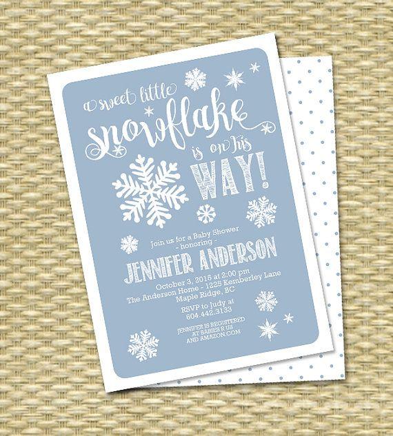 snowflake baby shower invitation winter baby shower baby boy baby