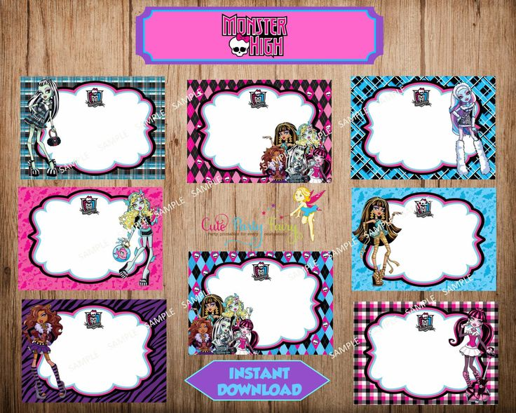 Monster High Food Labels, Monster High Buffet Label Card, Monster High Party Stickers, Instant Download, Printable File. by CutePartyFairy on Etsy https://www.etsy.com/listing/219658013/monster-high-food-labels-monster-high