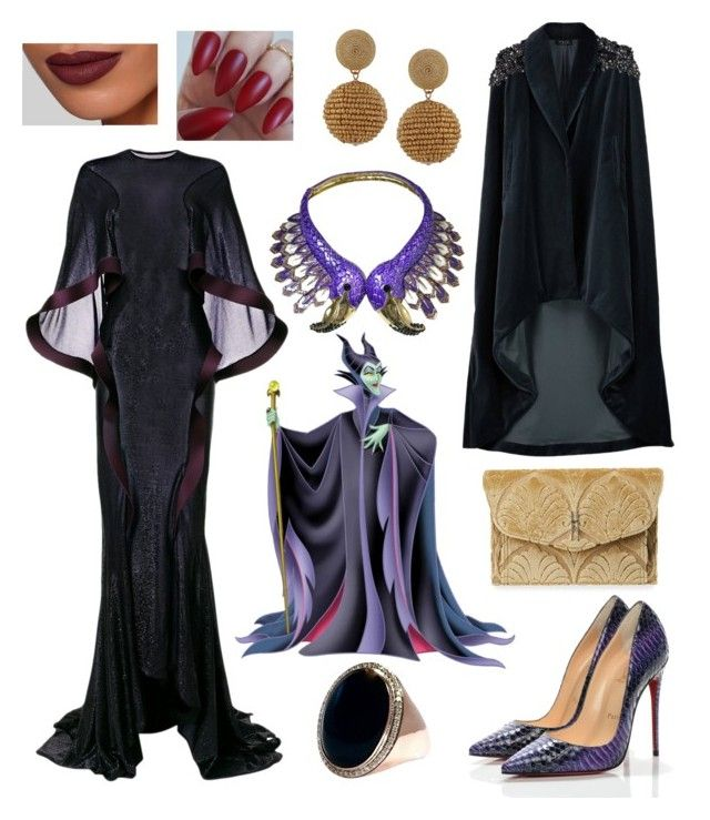 """My Style: Maleficent Theme"" by hellenrose7292 on Polyvore featuring Esteban Cortazar, Burberry, Veil London, Christian Louboutin, Hayward and Humble Chic"