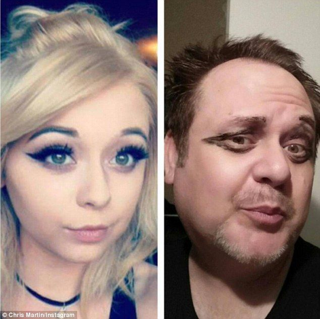 Make me up: In one photo, Mr Martin pouts for the camera and craws on his version of daughter Cassie's eyeliner