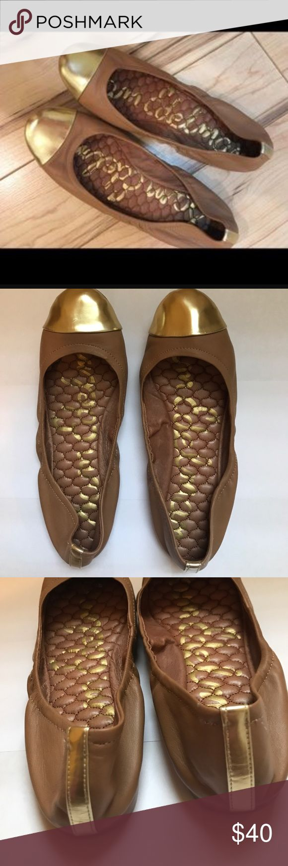 Sam Edelman Ballet Flats SZ 7 brown and gold Pre loved Sam Edelman ballet flats in women's size 7. These are like new except with a few scuffs on one shoe(see pictures). Sam Edelman Shoes Flats & Loafers