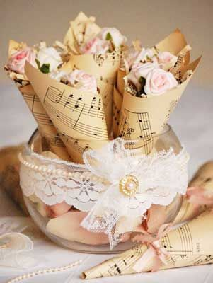 gorgeous sheet music to create some shabby chic flower holders