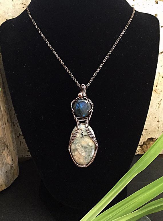 fa11b3089b533 Labradorite jewelry jasper pendant wire wrapped stones | Etsy | Wire ...