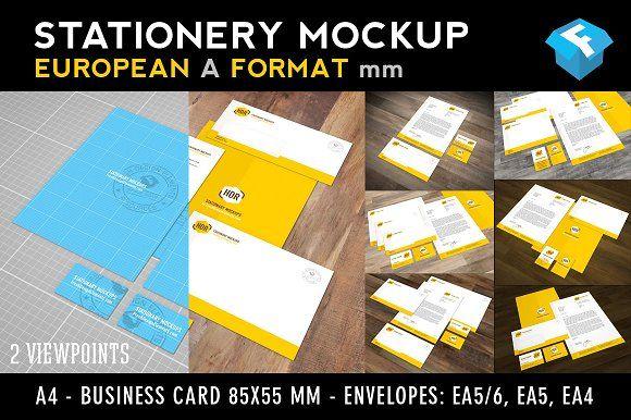 European A Format Stationery Mockup Stationery Mockup Business