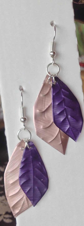 Boucles d'oreilles feuilles violet et rose en capsules nespresso : Boucles d'oreille par mariecrea