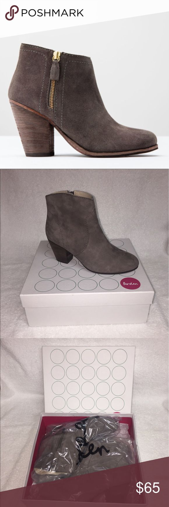 Boden Suede Boho High Heel Ankle Booties with Zip Beautiful Suede Gray Booties with Original Box. They were barely worn and would look perfect with a pair of skinny Jeans. There is a small little stain at the bottom of the right boot (as shown in picture) but is hardly noticeable. Size 9. These fit true to size. Feel free to make me an offer. No trades 🚫 Boden Shoes Ankle Boots & Booties