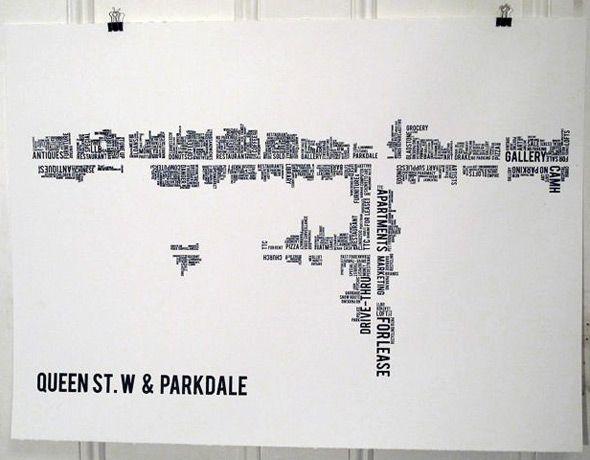 Toronto neighbourhoods mapped via word clouds - Dave Murray