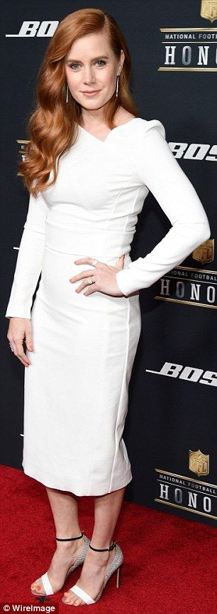 Angelic look: Amy Adams and January Jones both opted for winter white on Saturday at the NFL Honors awards ceremony in San Francisco