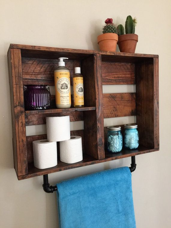 Rustic Bathroom Shelf FIRE TREATED With Pipe Towel Rack Aged Wood Decor Nursery Home And Living Cottage Chic
