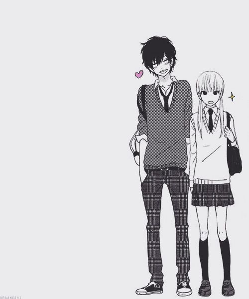 """Haru and Shizuku are saying """"We've decided to go out."""" I love their different attitudes about it. XD"""