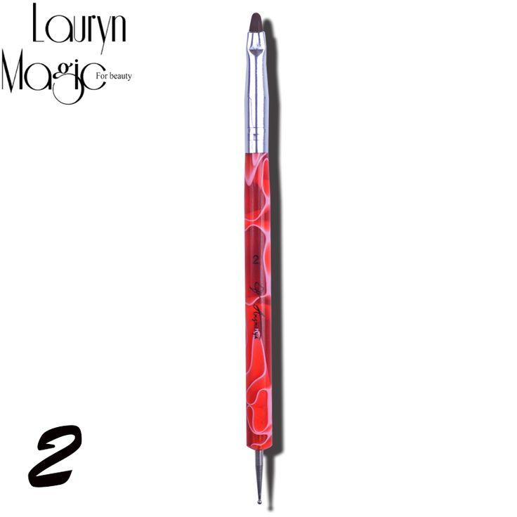 Neue 1 Stücke 2 Weg Nägel Kunst Builder Pinsel Punktierung Pen-Set Acryl UV Gel Maniküre Nagel Schönheit Werkzeuge Zufällige farbe
